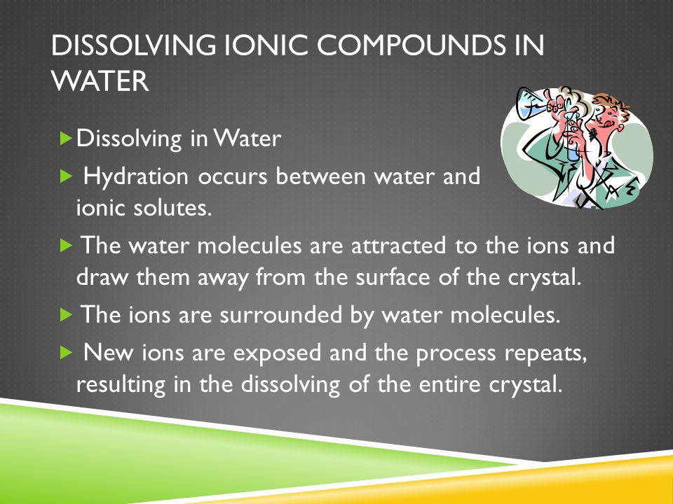 DISSOLVING IONIC COMPOUNDS IN WATER Dissolving in Water Hydration occurs between water and ionic solutes. The water molecules are attracted to the ion