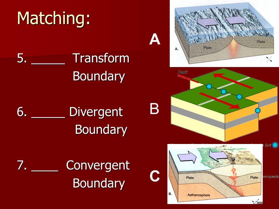 Matching: 5. _____Transform Boundary 6. _____ Divergent Boundary Boundary 7. ____ Convergent Boundary A B C