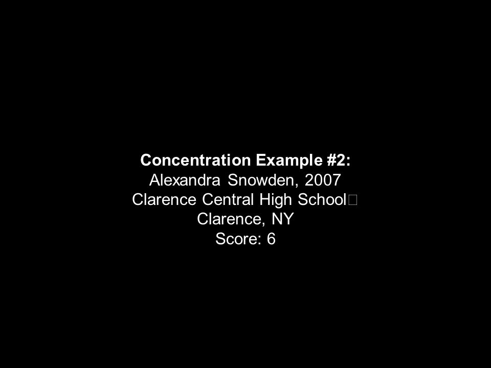 Concentration Example #2: Alexandra Snowden, 2007 Clarence Central High School Clarence, NY Score: 6