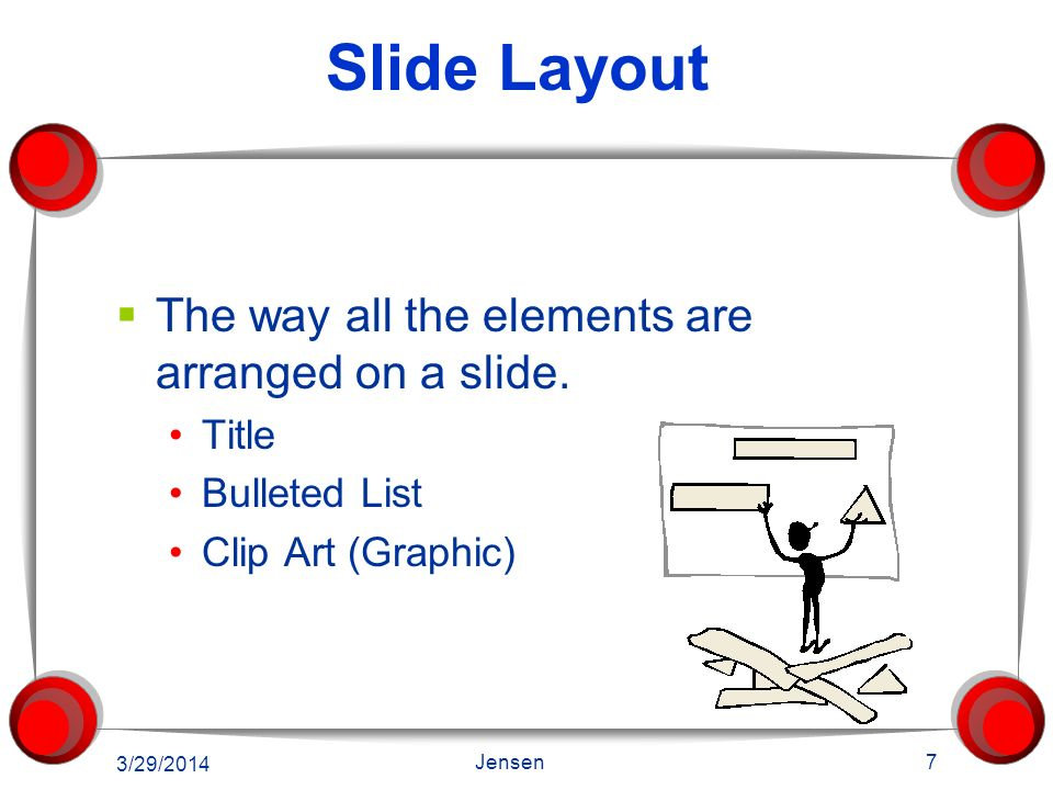 Slide Layout The way all the elements are arranged on a slide.