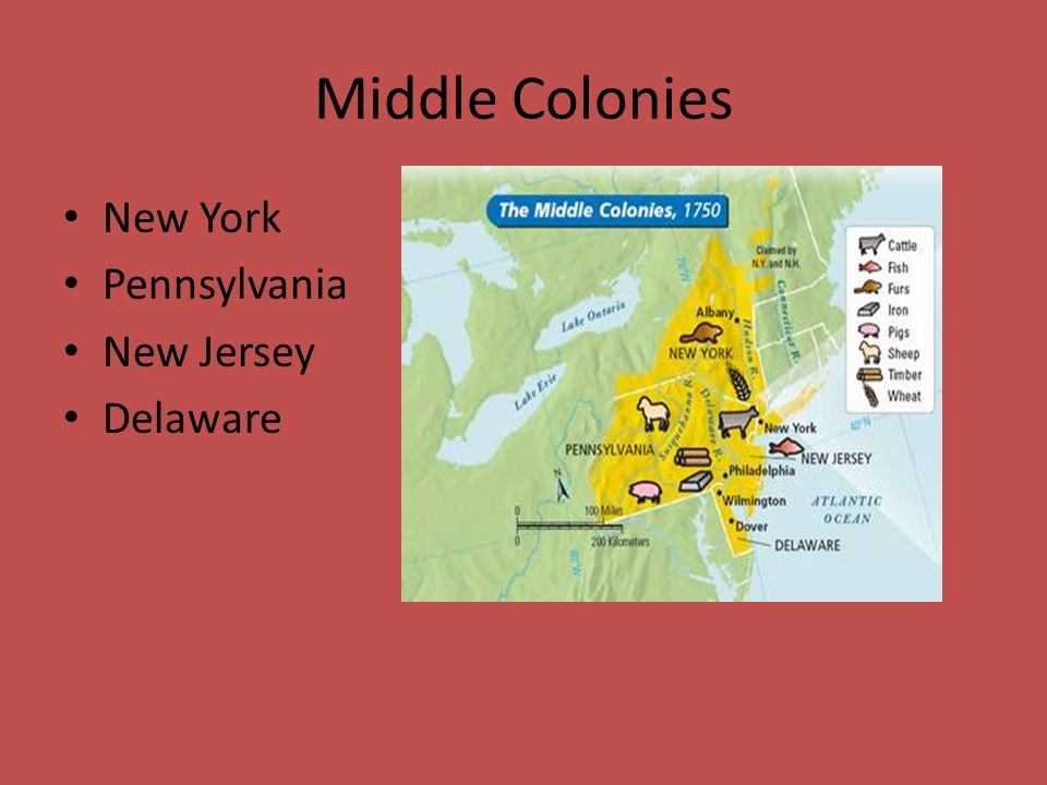 Middle Colonies New York Pennsylvania New Jersey Delaware