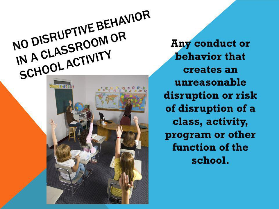 Any conduct or behavior that creates an unreasonable disruption or risk of disruption of a class, activity, program or other function of the school.