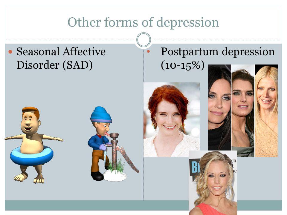 Other forms of depression Seasonal Affective Disorder (SAD) Postpartum depression (10-15%)
