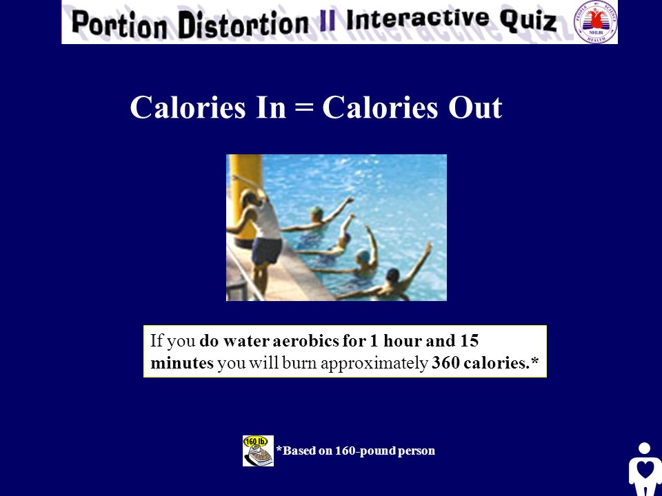 *Based on 160-pound person If you do water aerobics for 1 hour and 15 minutes you will burn approximately 360 calories.* Calories In = Calories Out