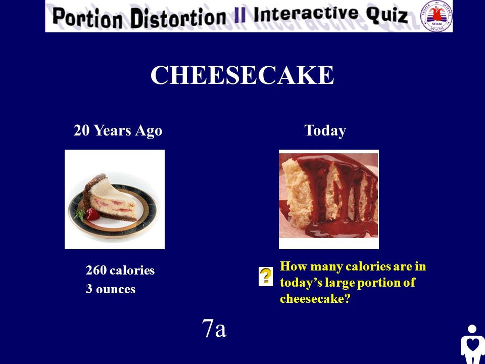 CHEESECAKE 20 Years AgoToday 260 calories 3 ounces How many calories are in todays large portion of cheesecake.