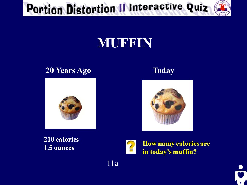 MUFFIN 20 Years AgoToday 210 calories 1.5 ounces How many calories are in todays muffin? 11a
