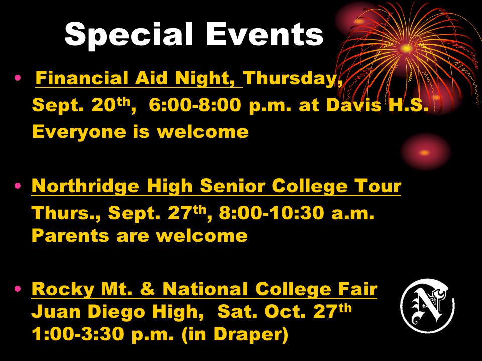 Special Events Financial Aid Night, Thursday, Sept.