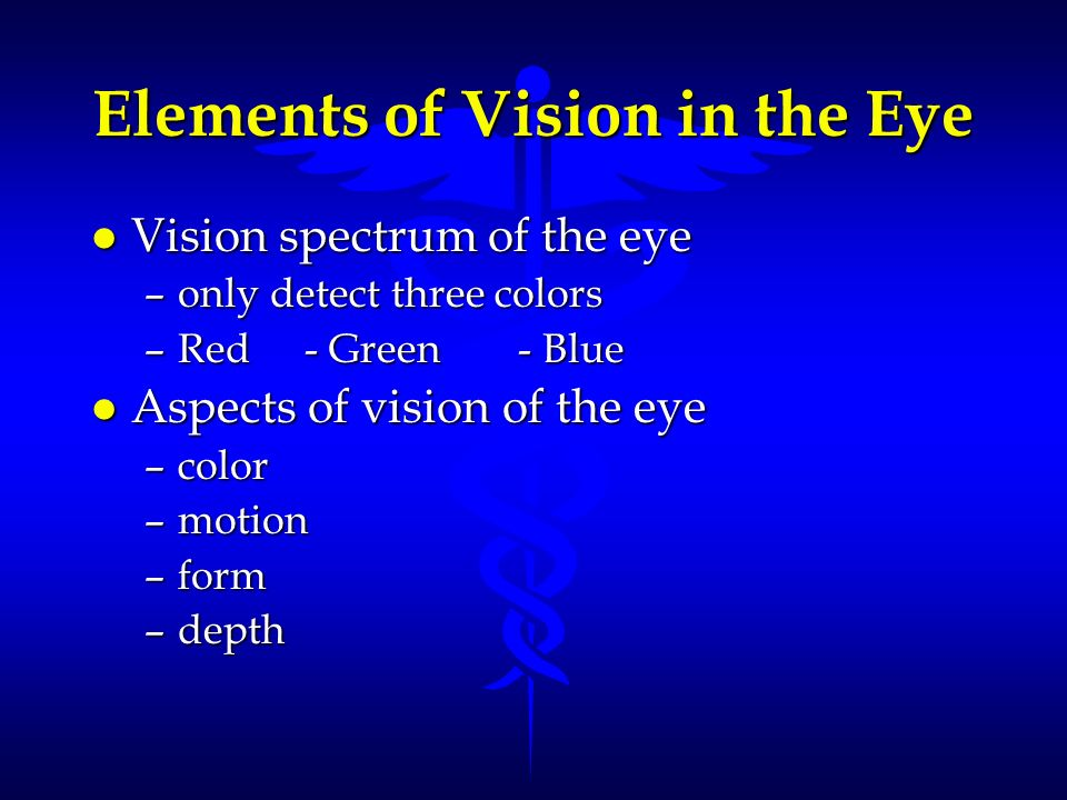 Elements of Vision in the Eye l Vision spectrum of the eye –only detect three colors –Red- Green- Blue l Aspects of vision of the eye –color –motion –