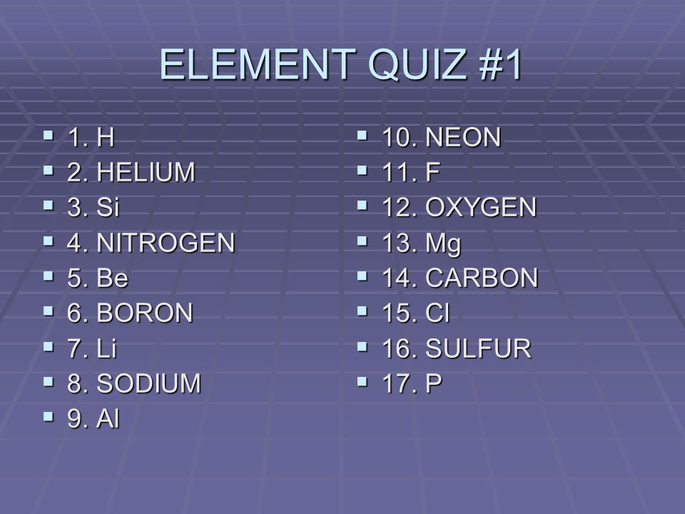 ELEMENT QUIZ #1 1. H 1. H 2. HELIUM 2. HELIUM 3.
