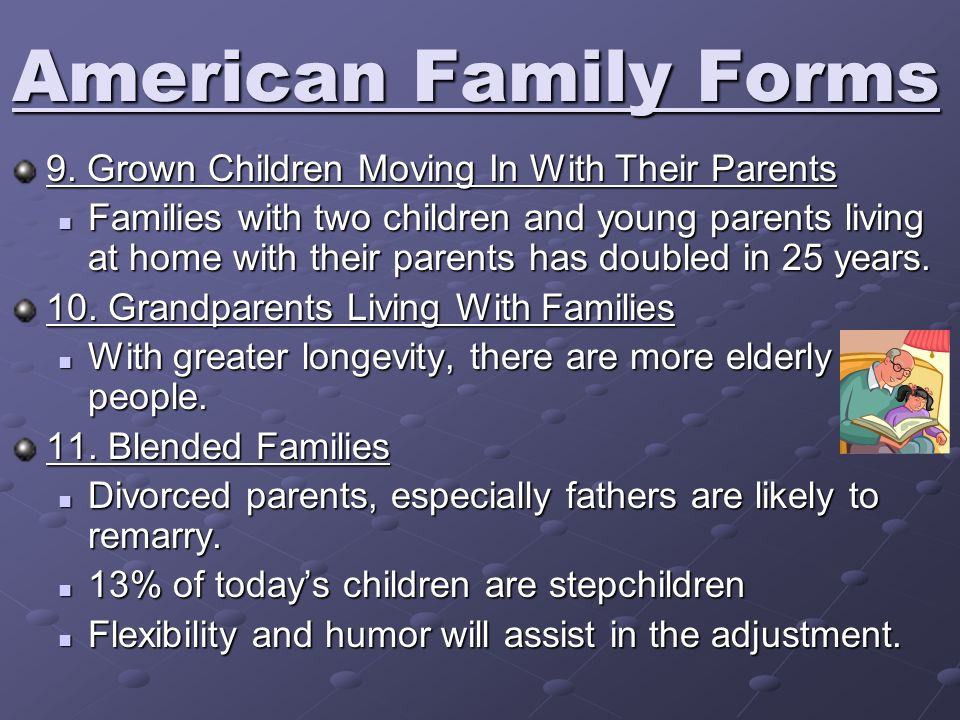 9. Grown Children Moving In With Their Parents Families with two children and young parents living at home with their parents has doubled in 25 years.