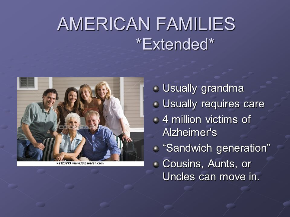 AMERICAN FAMILIES *Extended* Usually grandma Usually requires care 4 million victims of Alzheimer's Sandwich generation Cousins, Aunts, or Uncles can