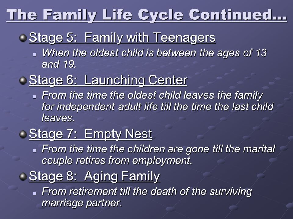 The Family Life Cycle Continued... Stage 5: Family with Teenagers When the oldest child is between the ages of 13 and 19. When the oldest child is bet
