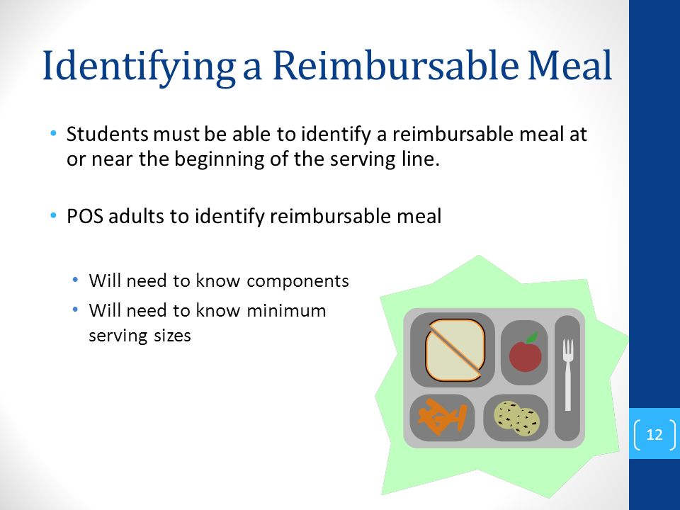 Identifying a Reimbursable Meal Students must be able to identify a reimbursable meal at or near the beginning of the serving line.