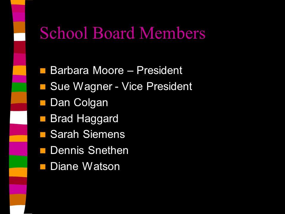 School Board Members Barbara Moore – President Sue Wagner - Vice President Dan Colgan Brad Haggard Sarah Siemens Dennis Snethen Diane Watson