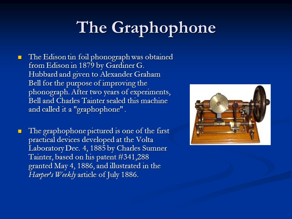 …The Phonograph 1877 - Edison made the first recording of a human voice ( Mary had a little lamb ) on the first phonograph Dec.