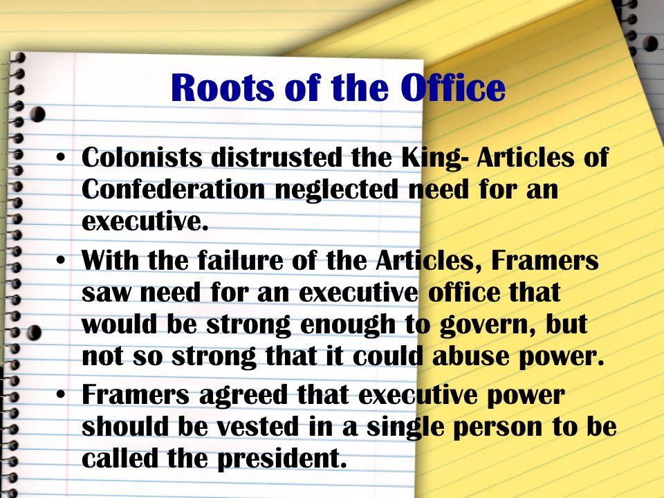 Duties of the President Administrative head of nation –Makes important policy decisions Commander-in-Chief –Leader of the military in times of war Chi