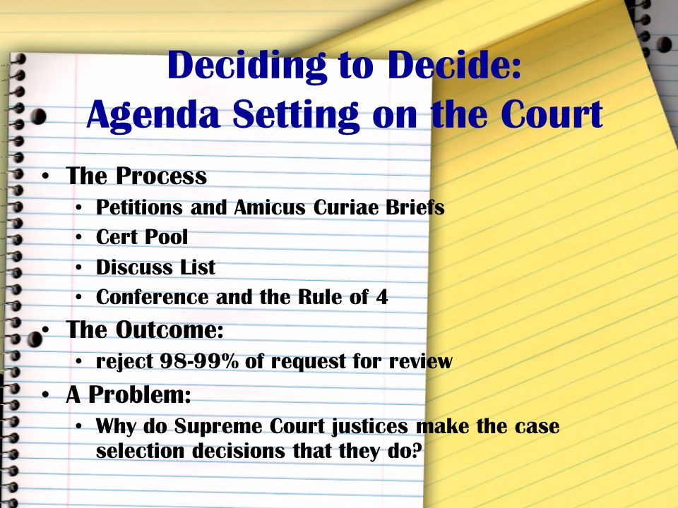 How Cases Get to the Court How do they get there? Original Jurisdiction (1-5 cases) Appellate Jurisdiction (the rest)
