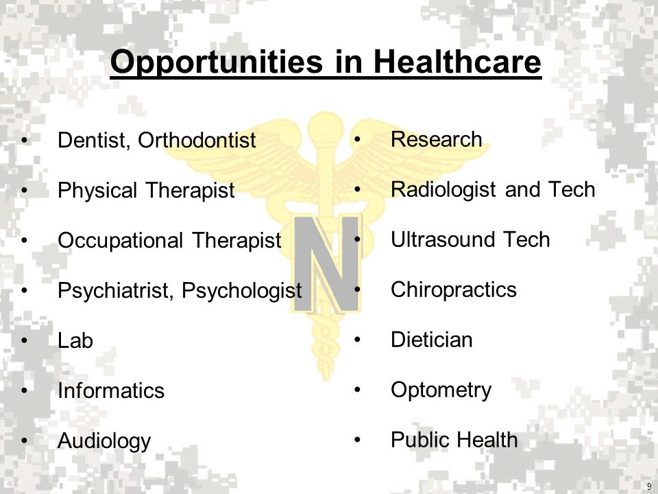 9 Dentist, Orthodontist Physical Therapist Occupational Therapist Psychiatrist, Psychologist Lab Informatics Audiology Opportunities in Healthcare Research Radiologist and Tech Ultrasound Tech Chiropractics Dietician Optometry Public Health