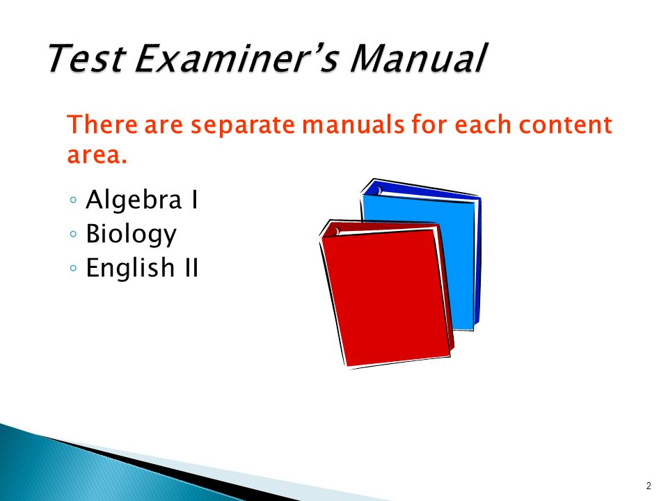 There are separate manuals for each content area. Algebra I Biology English II 2