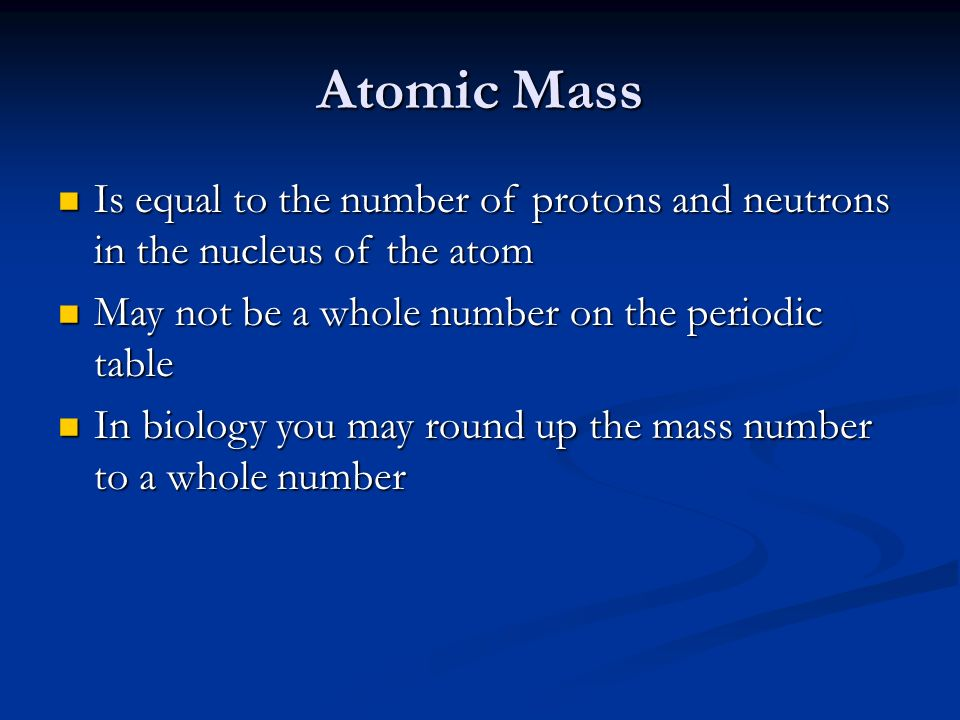 Is equal to the number of protons and neutrons in the nucleus of the atom Is equal to the number of protons and neutrons in the nucleus of the atom Ma