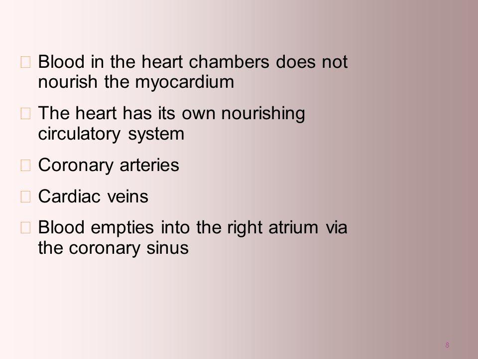 8 Blood in the heart chambers does not nourish the myocardium The heart has its own nourishing circulatory system Coronary arteries Cardiac veins Bloo
