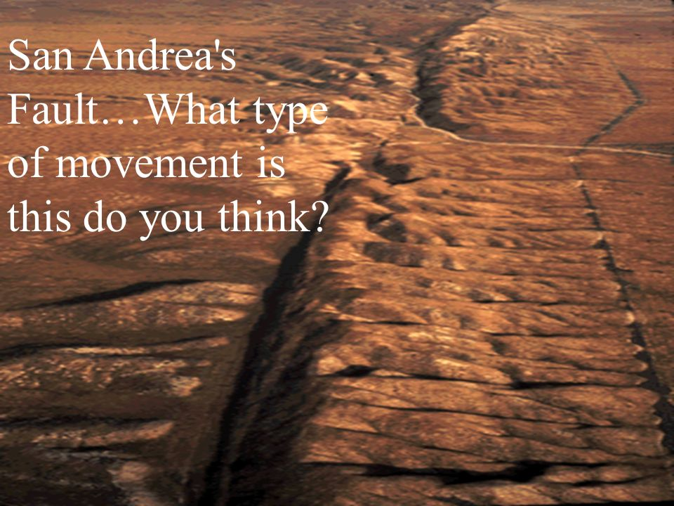 San Andrea's Fault…What type of movement is this do you think?
