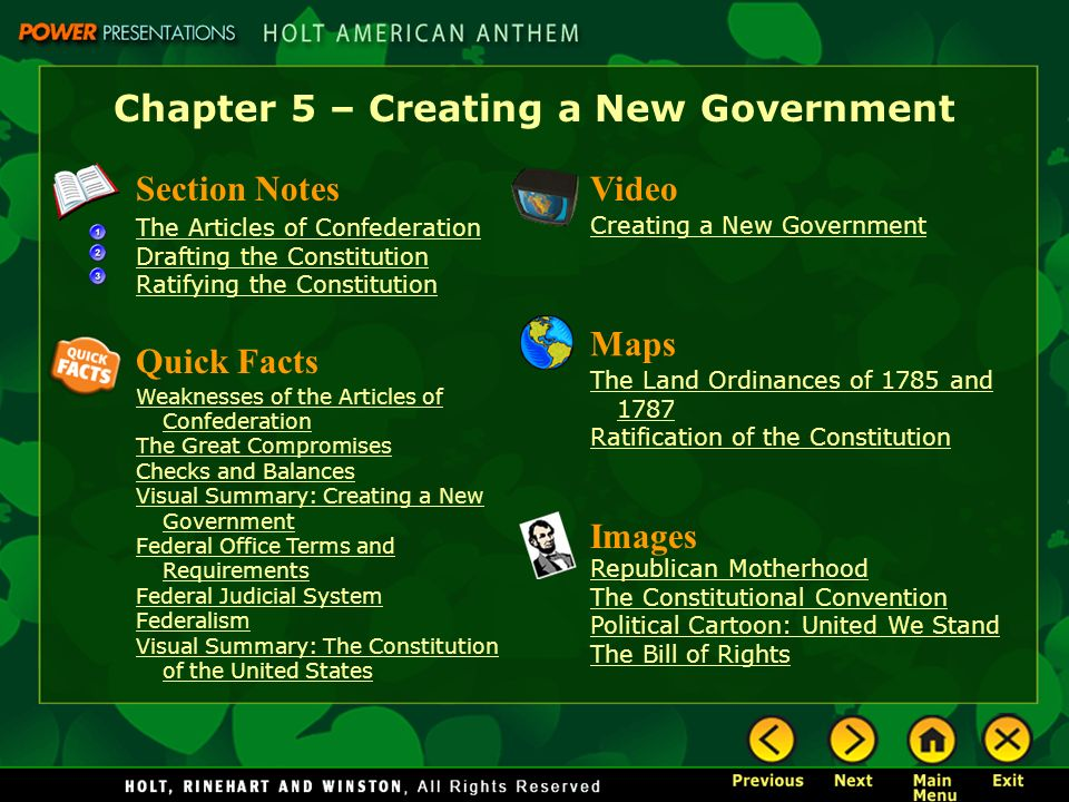 Chapter 5 – Creating a New Government Section Notes The Articles of Confederation Drafting the Constitution Ratifying the Constitution Video Images Re