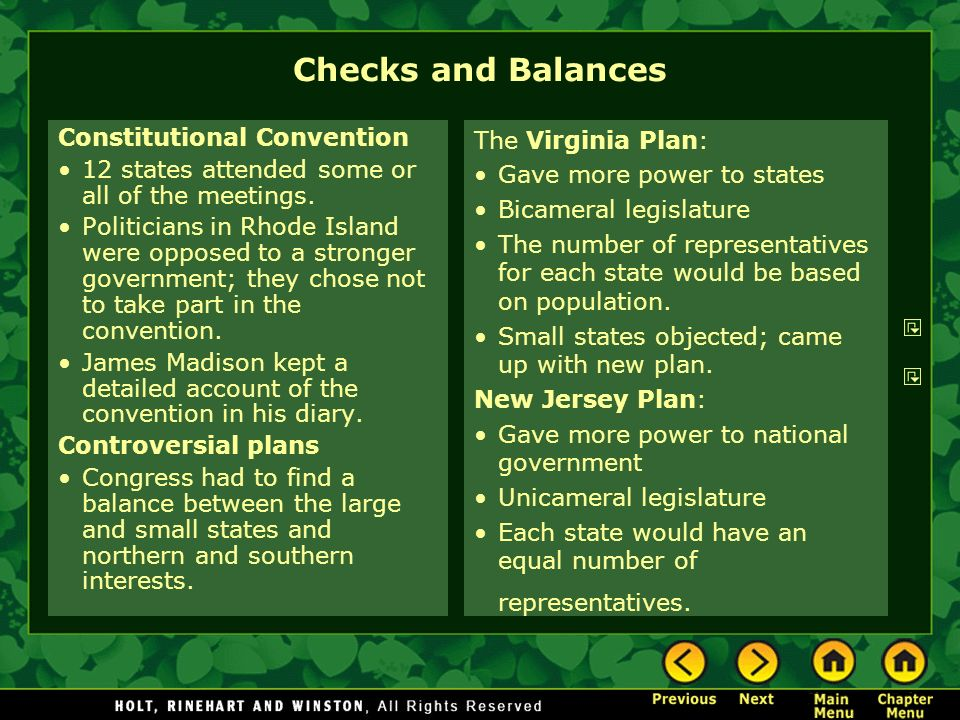 Checks and Balances Constitutional Convention 12 states attended some or all of the meetings. Politicians in Rhode Island were opposed to a stronger g