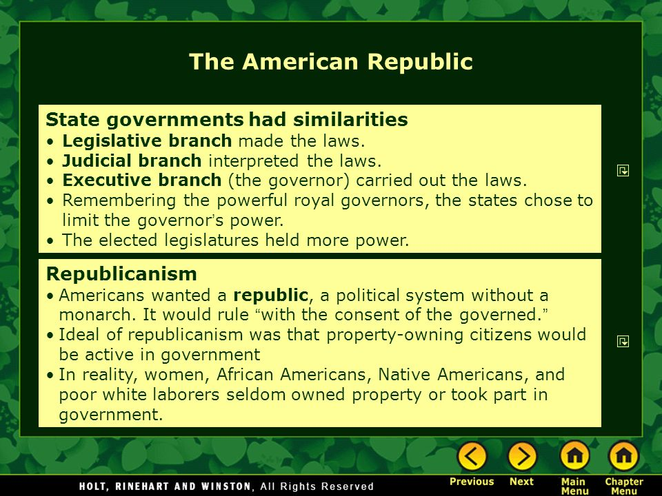 The American Republic State governments had similarities Legislative branch made the laws. Judicial branch interpreted the laws. Executive branch (the