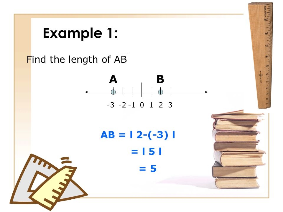 Example 1: AB 0123-2-3 Find the length of AB AB = l 2-(-3) l = l 5 l = 5