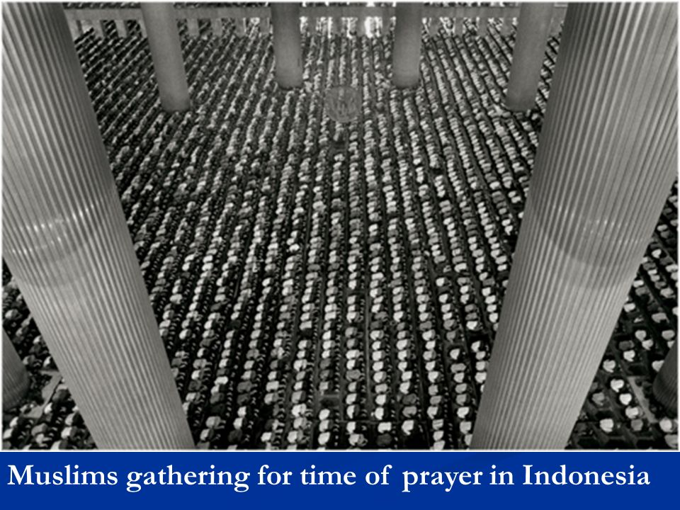 Muslims gathering for time of prayer in Indonesia