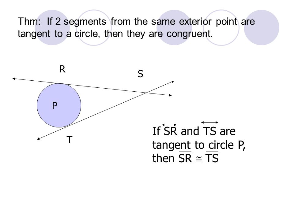 Thm: If 2 segments from the same exterior point are tangent to a circle, then they are congruent. R T S P If SR and TS are tangent to circle P, then S