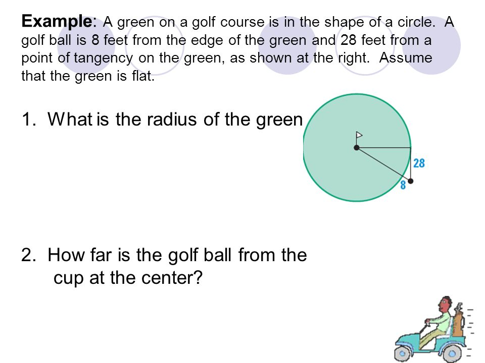 Example: A green on a golf course is in the shape of a circle. A golf ball is 8 feet from the edge of the green and 28 feet from a point of tangency o