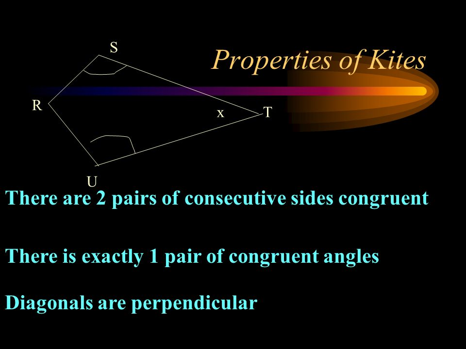 Properties of Kites There are 2 pairs of consecutive sides congruent There is exactly 1 pair of congruent angles Diagonals are perpendicular T R U S x