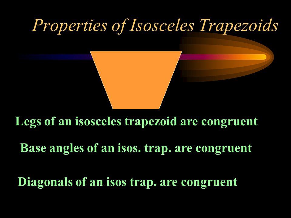 Properties of Isosceles Trapezoids Legs of an isosceles trapezoid are congruent Base angles of an isos. trap. are congruent Diagonals of an isos trap.