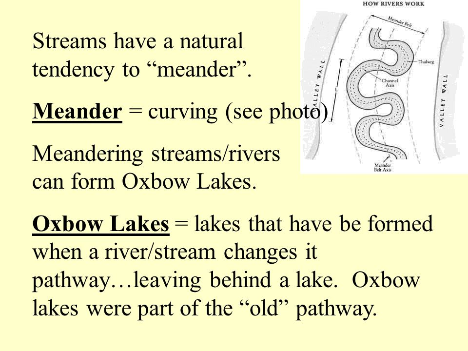 Streams have a natural tendency to meander. Meander = curving (see photo) Meandering streams/rivers can form Oxbow Lakes. Oxbow Lakes = lakes that hav
