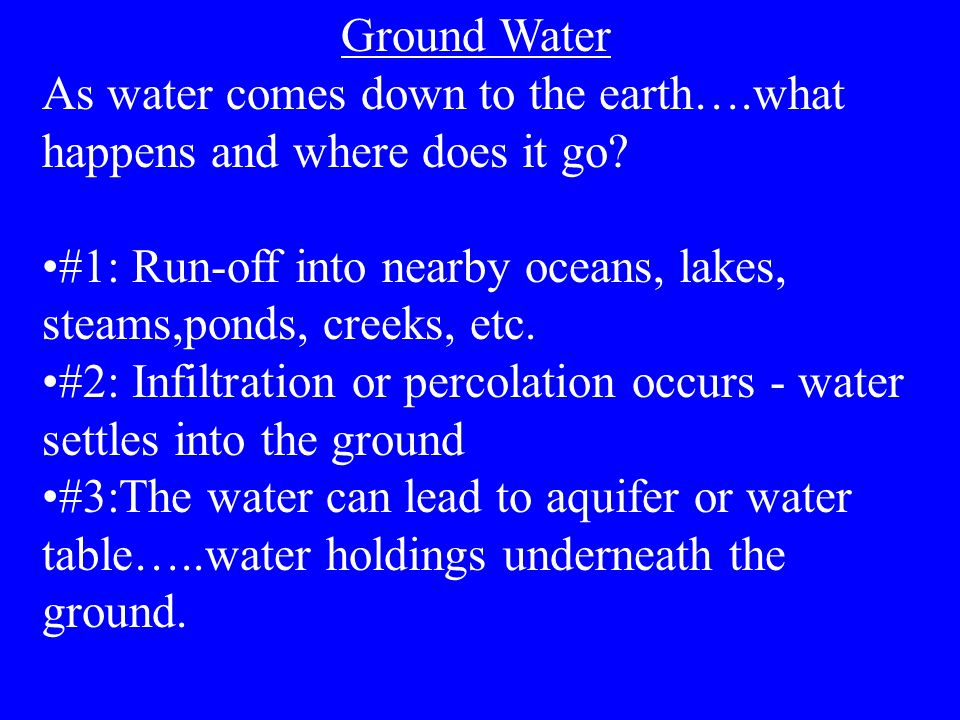 Ground Water As water comes down to the earth….what happens and where does it go? #1: Run-off into nearby oceans, lakes, steams,ponds, creeks, etc. #2