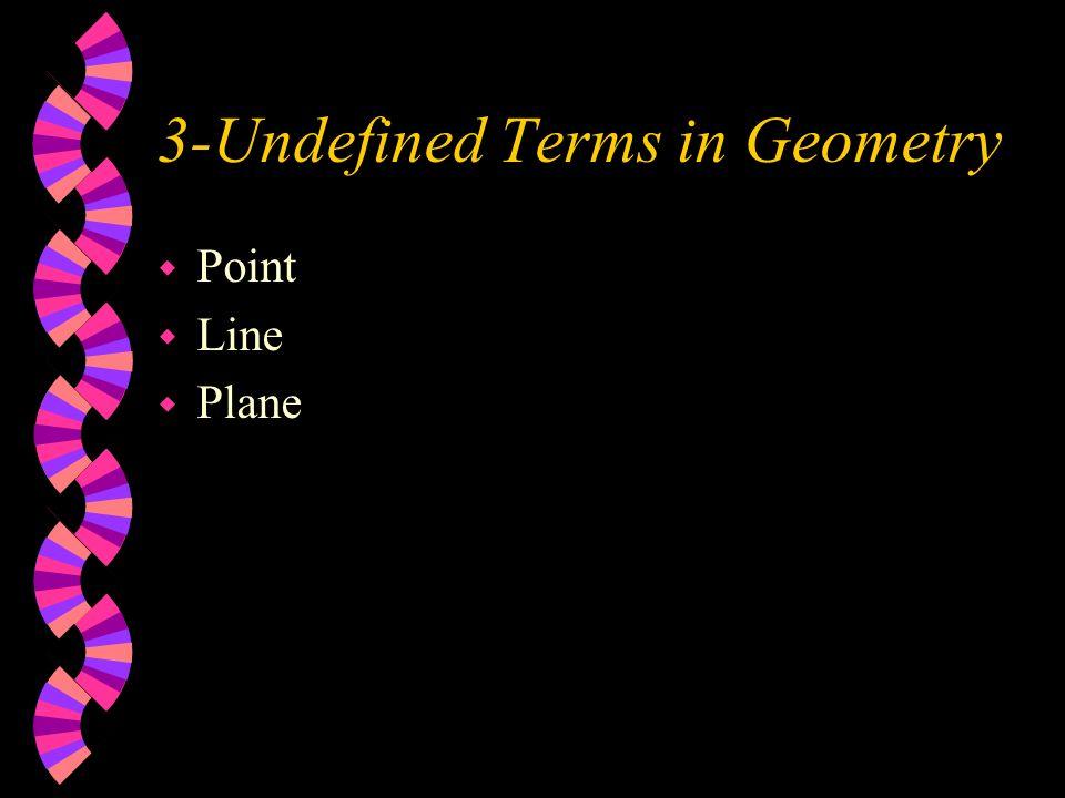 3-Undefined Terms in Geometry w Point w Line w Plane