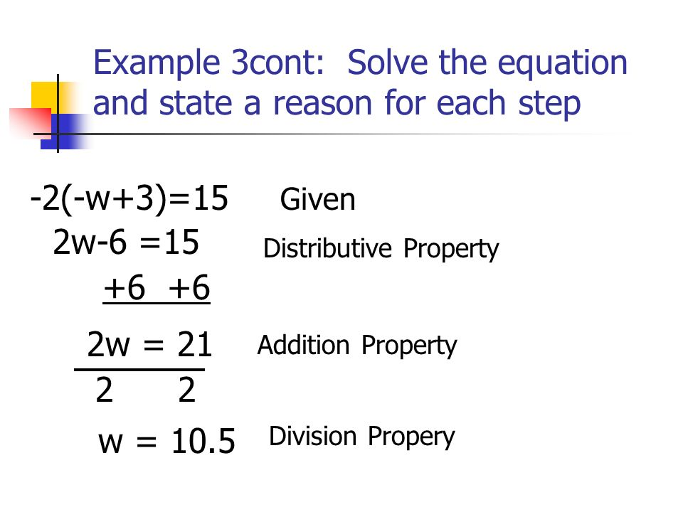 Example 3cont: Solve the equation and state a reason for each step -2(-w+3)=15 Given 2w-6 =15 Addition Property +6 +6 Distributive Property 2w = 21 2