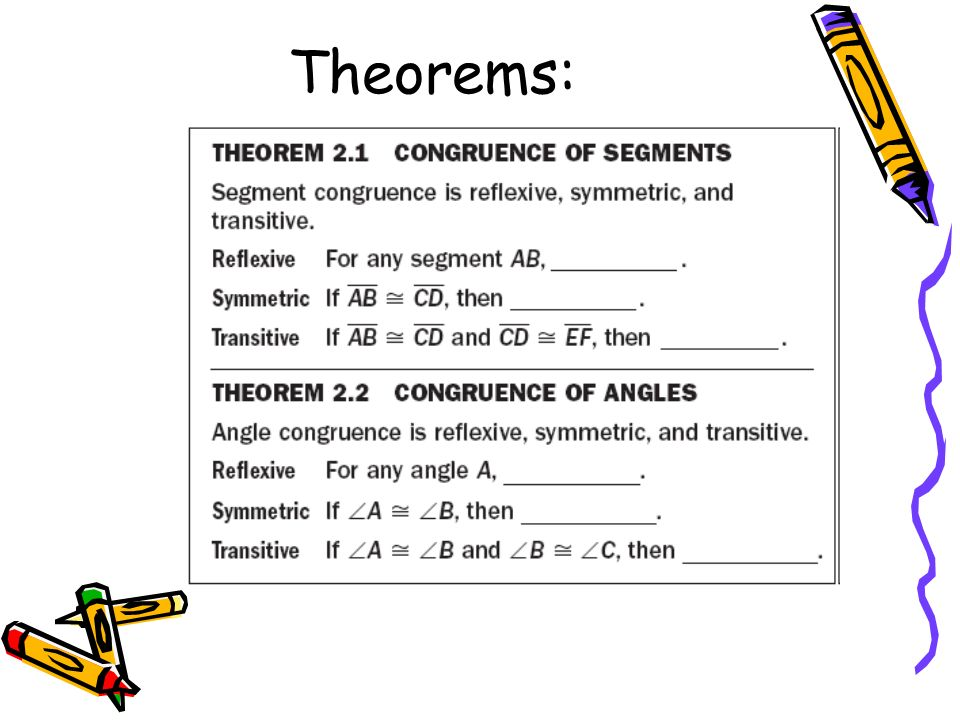 Some Common Reasons: Given Definition of Congruence (for segments and angles) Definition of bisector (could be used for angles or segments) Definition of Midpoint (segments only) Definition of Right Angle Angle Addition Postulate Segment Addition Postulate Substitution Addition property of Equality Reflexive property of equality and congruence Definition of Perpendicular Definition of Supplementary Definition of Complementary