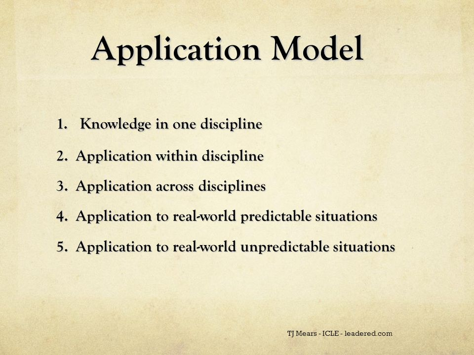 Application Model Application Model 1. Knowledge in one discipline 2.
