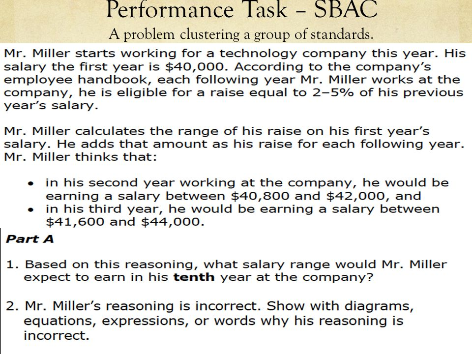 Performance Task – SBAC A problem clustering a group of standards.