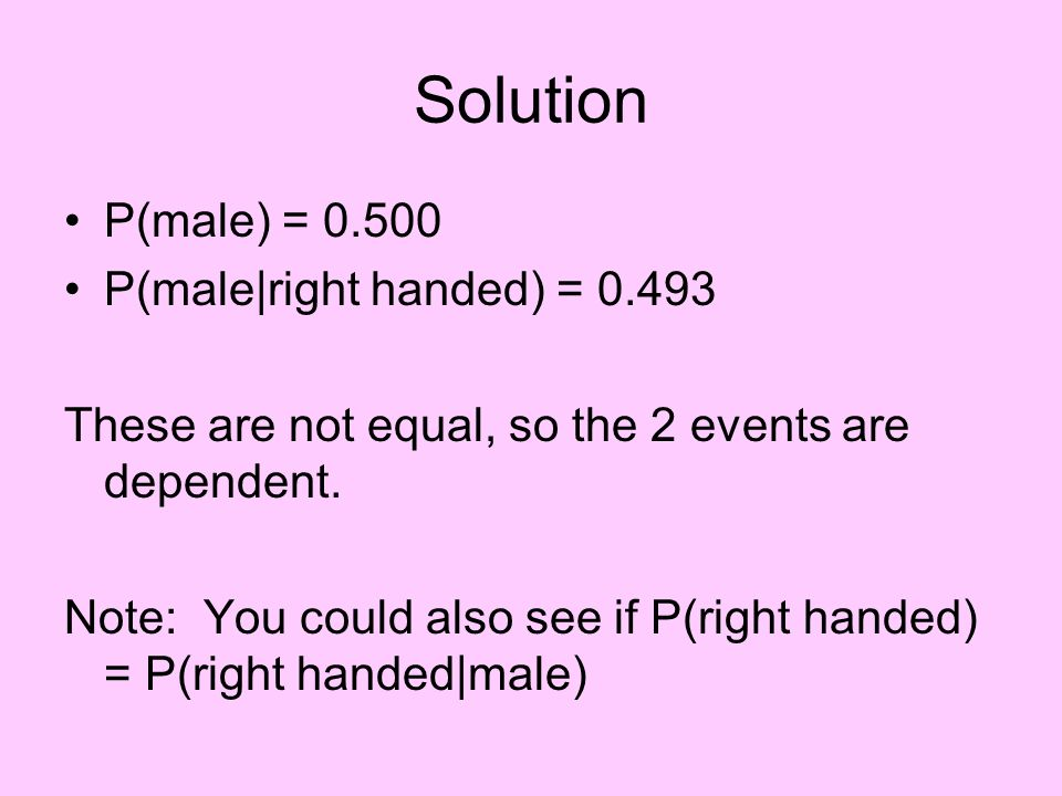 Solution P(male) = 0.500 P(male|right handed) = 0.493 These are not equal, so the 2 events are dependent. Note: You could also see if P(right handed)
