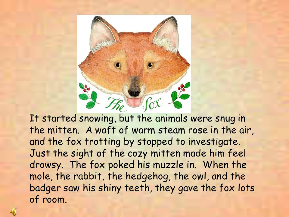 It started snowing, but the animals were snug in the mitten. A waft of warm steam rose in the air, and the fox trotting by stopped to investigate. Jus