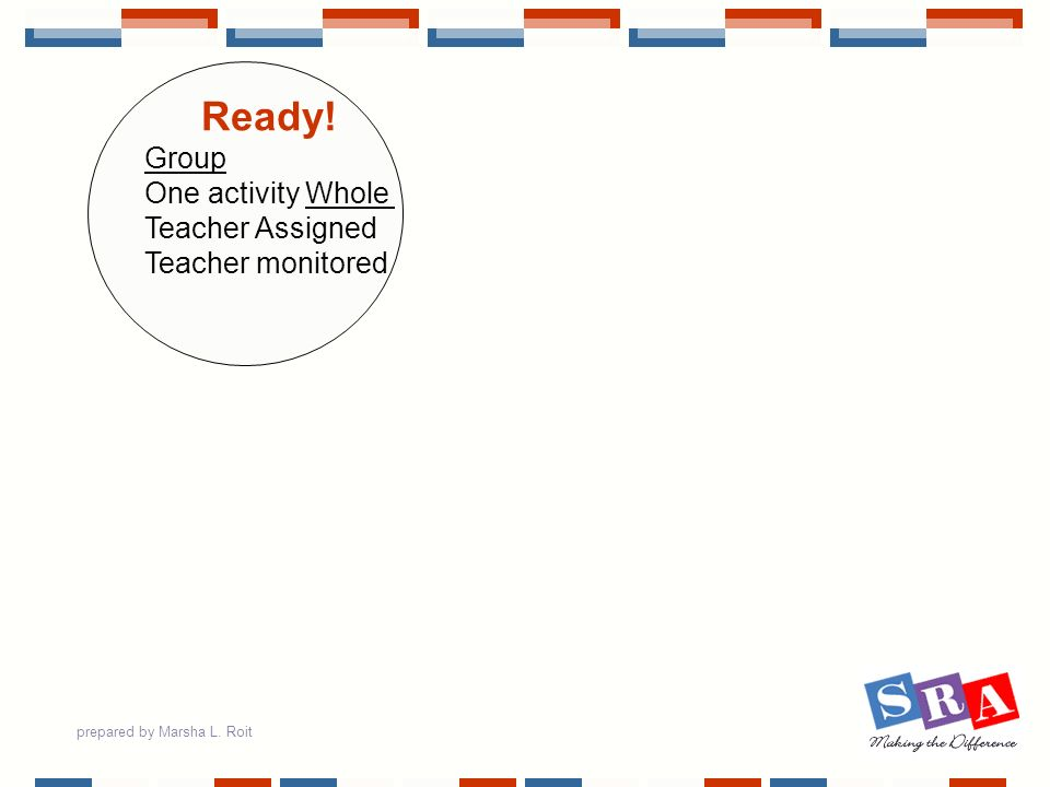 prepared by Marsha L. Roit Ready! Group One activity Whole Teacher Assigned Teacher monitored