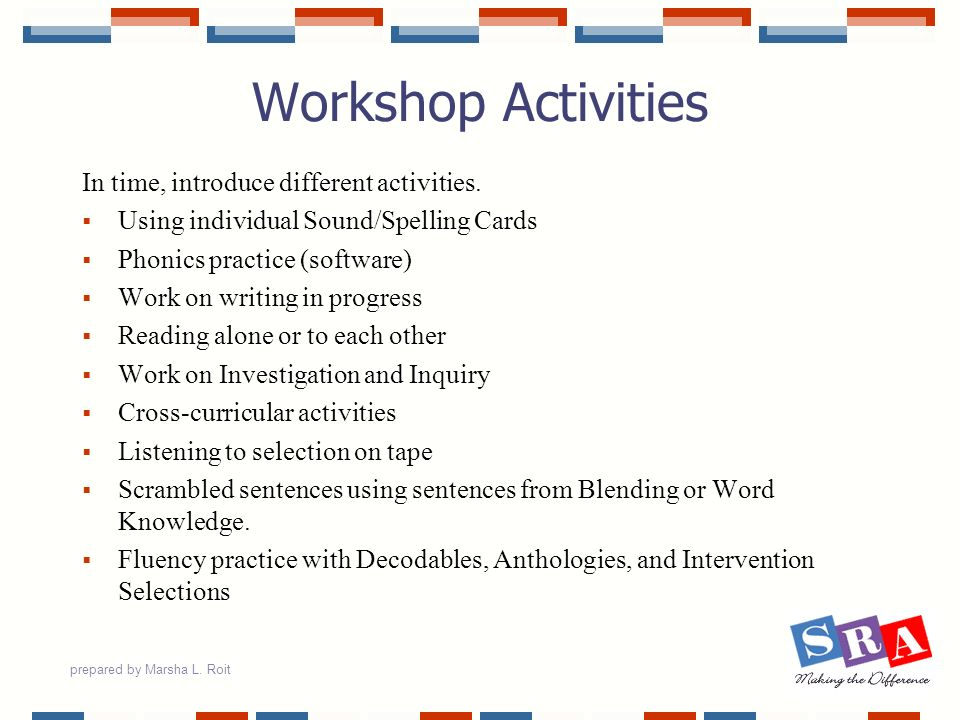 prepared by Marsha L. Roit Workshop Activities In time, introduce different activities. Using individual Sound/Spelling Cards Phonics practice (softwa