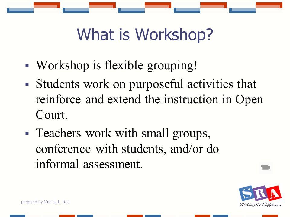 prepared by Marsha L.Roit Workshop Possible Teacher Activities...