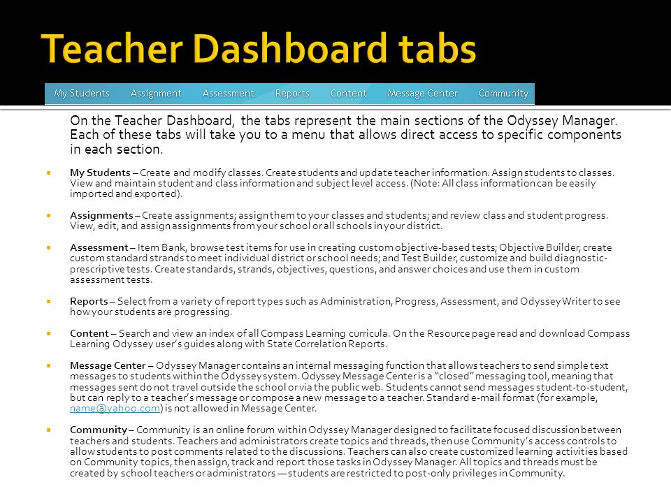 On the Teacher Dashboard, the tabs represent the main sections of the Odyssey Manager.