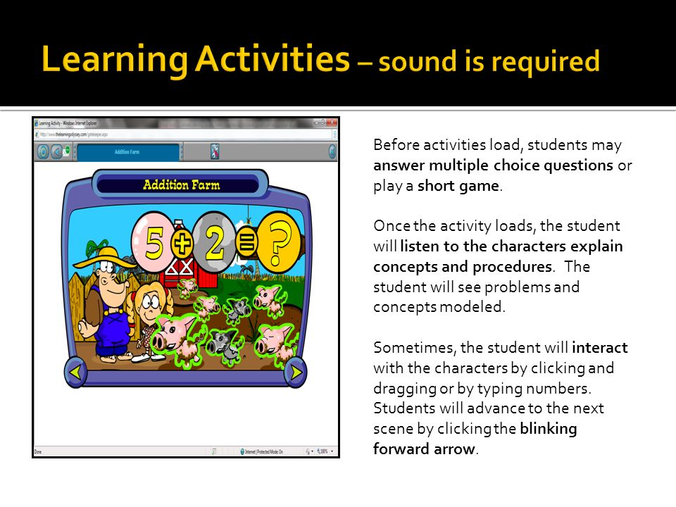 Before activities load, students may answer multiple choice questions or play a short game.