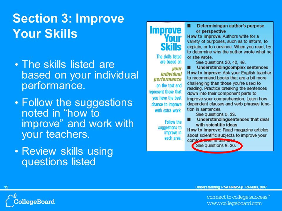 12Understanding PSAT/NMSQT Results, 9/07 Section 3: Improve Your Skills The skills listed are based on your individual performance.